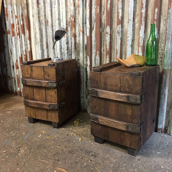 2 Vintage Upcycled wooden Trunk box Bedside Cabinet Cupboards Coffee end tables