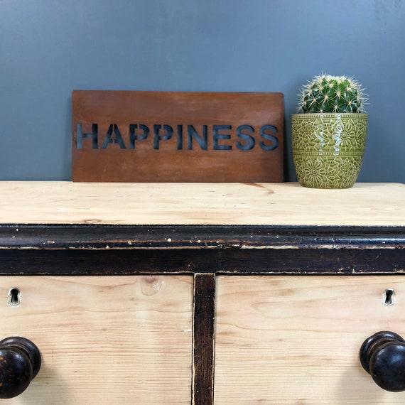 Rusted HAPPINESS Plaque Word Sign Metal Home Rustic Bar Kitchen Love House Life