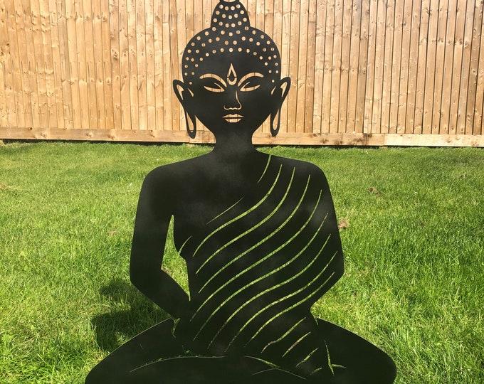 BLACK METAL BUDDHA Garden ornament , rustic garden decoration , Buddha Silhouette , Garden Feature ,  buddha statue , lawn decor