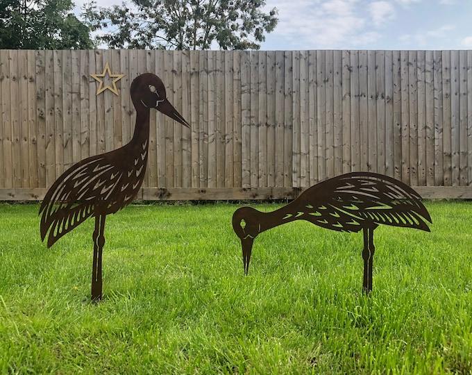 2 Rusty Metal birds Garden ornaments , Heron garden Features , stork garden decoration , rustic lawn feature, heron , stork , wader,