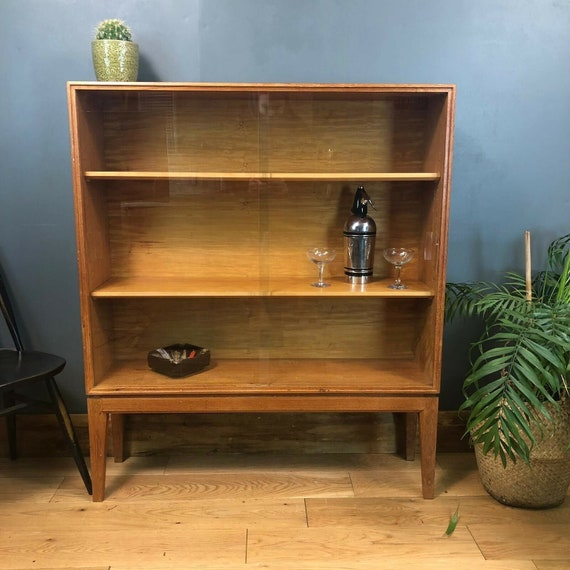 Retro Mid Century Gordon Russell Bookcase Display Case Cocktail Cabinet Vintage