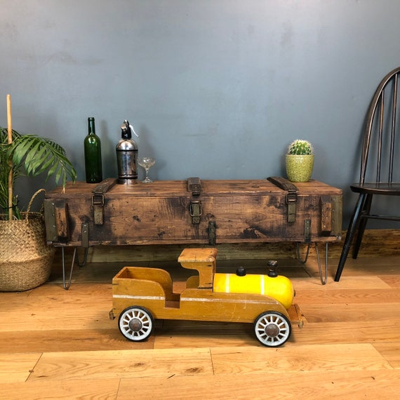 A Vintage wooden Trunk Chest box Rustic Industrial Coffee table Upcycled Hairpin