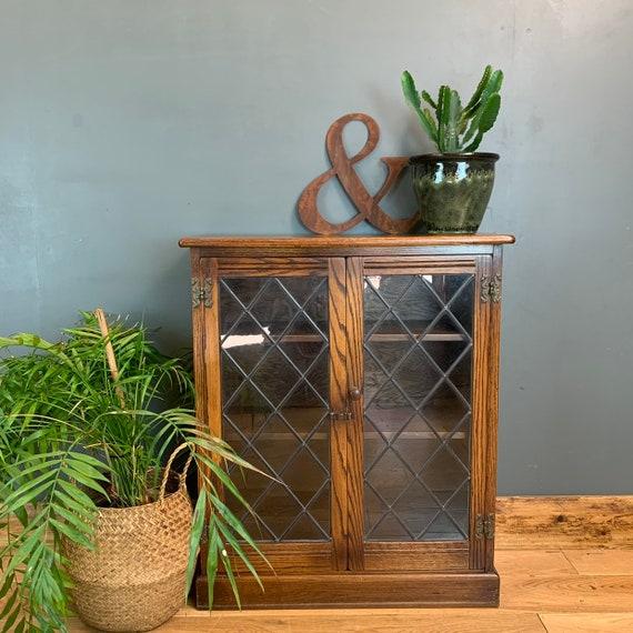 Rustic Small Vintage Bookcase Shelves Shelving Storage Oak Glazed Doors Cupboard
