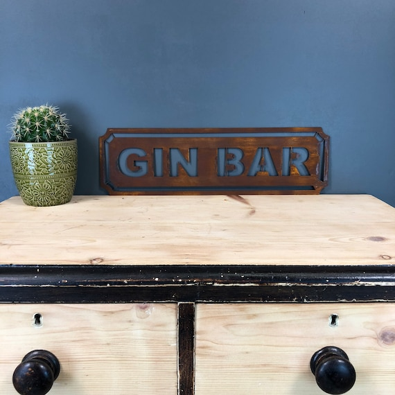 Rusted GIN BAR Word Sign Metal Shop Home Rustic Pub Cafe Bar Cocktails Drinks
