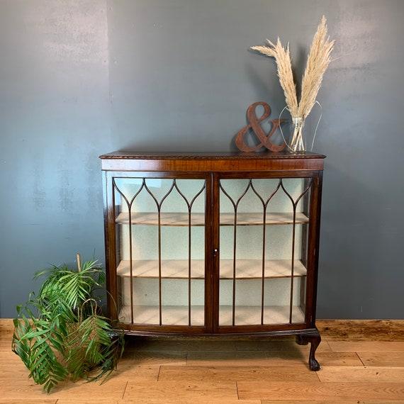 Antique Vintage China Cabinet Rustic Vintage Cocktail Cupboard Glazed Mahogany