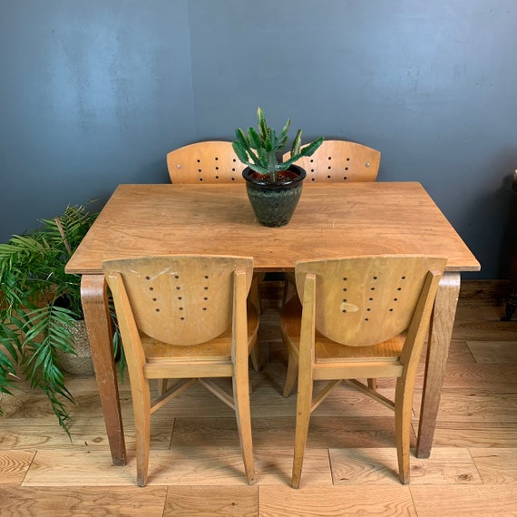 Wooden DINING Table School ESA 4 Chairs Ideal For Project/ Shabby Chic