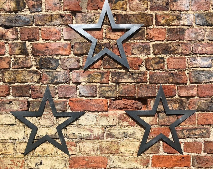 3 galvanised steel metal barn Stars Sign set , metal stars  , Rustic Decoration , Garden Feature , garden ornaments , contemporary garden