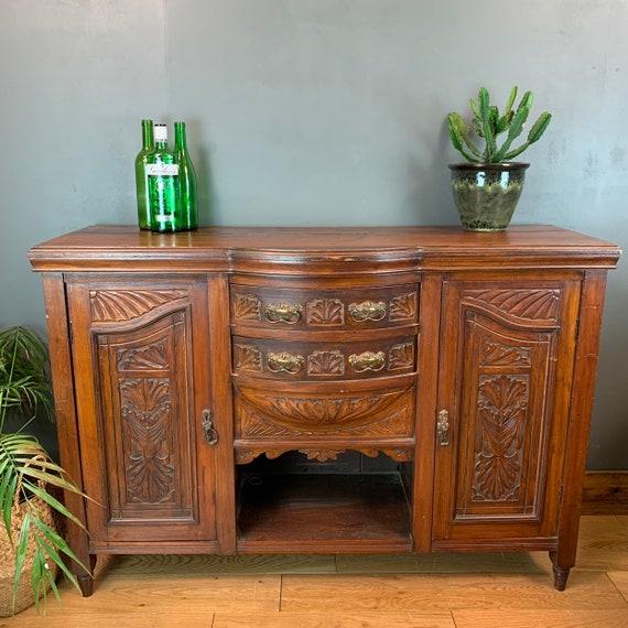 Antique Buffet Server Sideboard Mahogany Cupboard Drawers Storage Art Nouveau