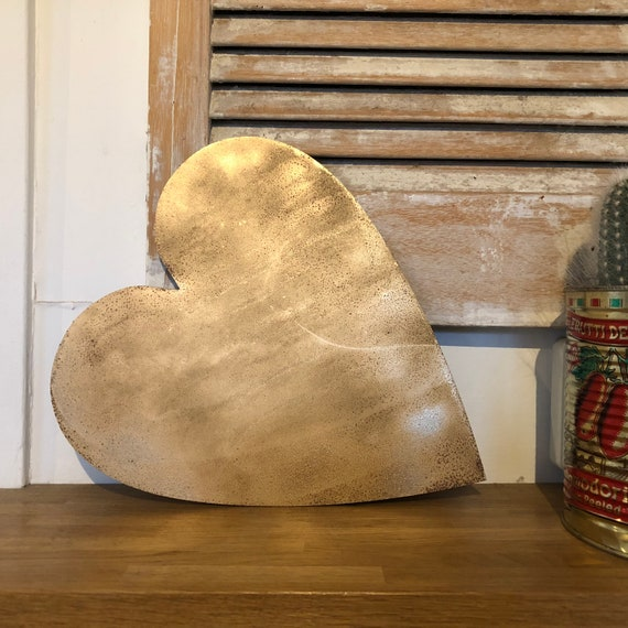 Rustic gold HEART metal letter. initials, house name, lettering, rusted, coffee shop, eat numbers, barbers, home, love, gin tea