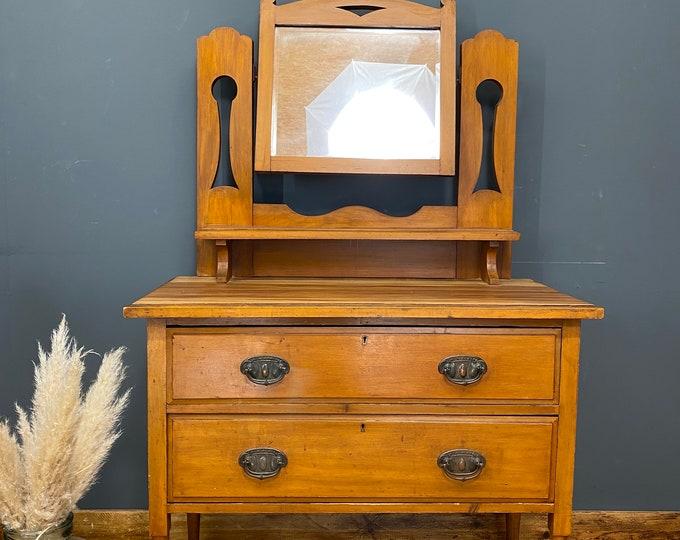 Antique Chest Of Drawers /Arts & Crafts Bedroom Dresser /Art Nouveau Drawers