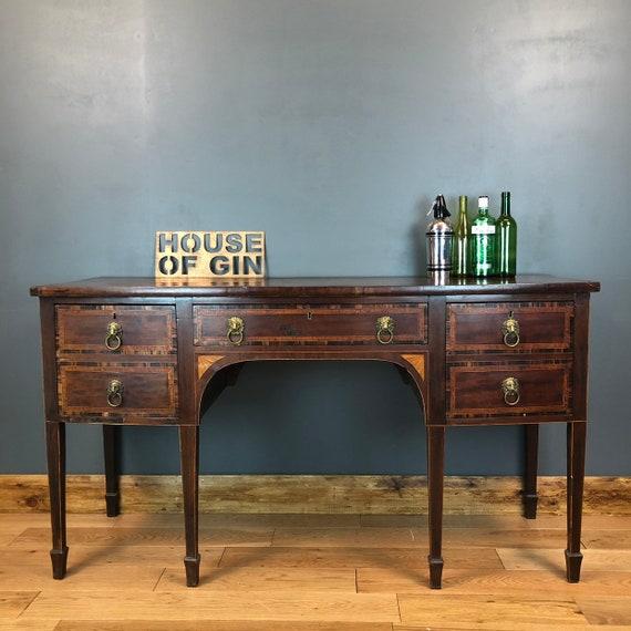 Antique Sideboard Solid Mahogany Cupboard Drawers Coromandel Satinwood Inlay