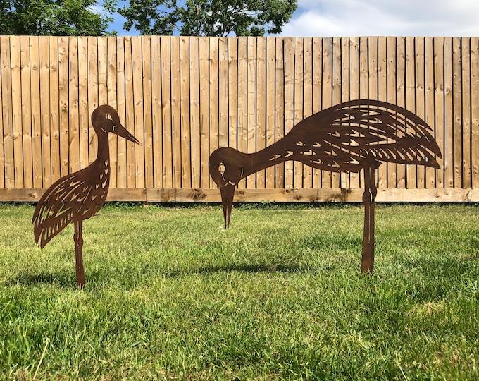 2 Rusty Metal birds Garden ornaments , Heron garden Features , stork garden decoration , rustic lawn feature, heron stork wader