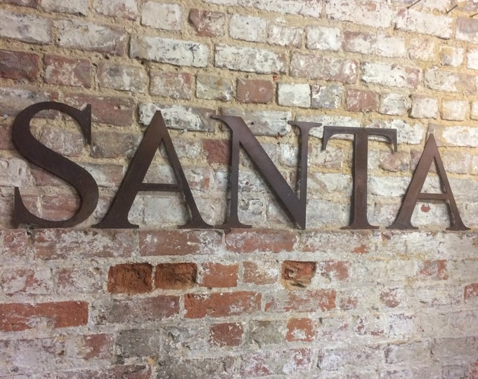 Rustic SANTA Letter Sign , Metal lettering , Shabby chic Christmas decoration , santas grotto sign , grotto decorations , rustic christmas