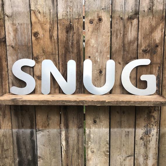 SNUG Lettering Letters Signage GALVANIZED Metal Industrial Shop Home Sign Rustic