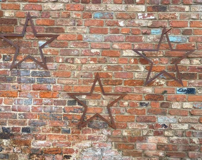 SPECIAL OFFER , 3 Big Rusty Metal barn STARS Garden Ornaments ,  garden decorations  , wall  or fence decorations , shabby chic stars