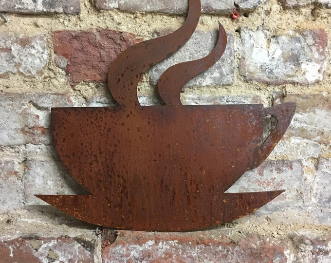Rusty metal sign , Coffee Tea CUP Sign , Shop sign , Home bar kitchen sign , eat sign , food sign , drinks signs , industrail sign ,