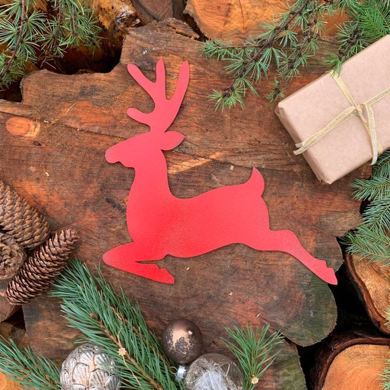 Rustic RED REINDEER Christmas deer Sign Metal Plaque Home decoration Nordic Rustic