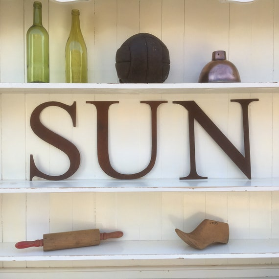 SUN Rusty metal word letters, shop home sign house name, lettering, rusted, industrial, vintage, numbers, pub, bbq