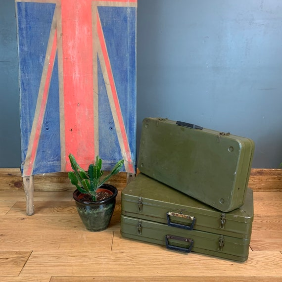 Vintage Military Army Suitcase Cabinet Cupboard upcycled kitchen bathroom Metal