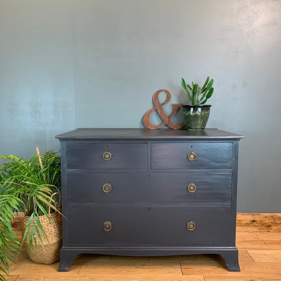 Vintage Upcycled Shabby Chic Chest Of Drawers Painted Dark Navy Blue Boho