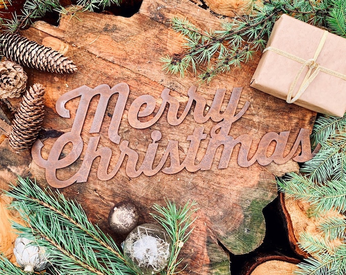 Rustic RUSTY MERRY CHRISTMAS Sign , rustic christmas decoration , christmas mantle Ornament ,  mantle decor , shabby chic christmas decor