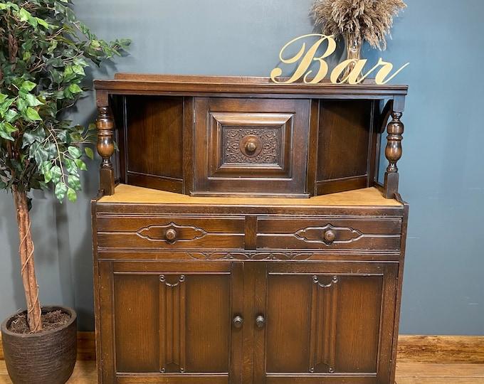 Vintage Oak Dresser / Rustic Home Bar / Oak Sideboard / Court Cupboard