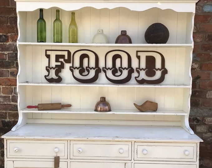 Rusty metal letters FOOD for a shop or any home . rustic kitchen sign , eat sign , cafe sign , food sign , restaurant sign , cake shop