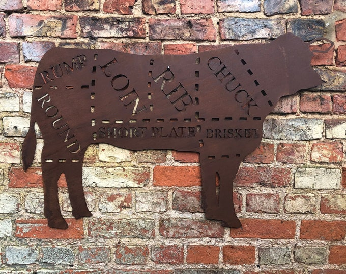 Large Rusty metal COW Sign / Butcher Shop plaque / Beef Cuts / BBQ Sign / Kitchen sign / kitchen decor