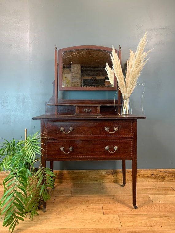Vintage Dressing Table Chest Of Drawers Mirror Bedroom Dresser Storage Mahogany