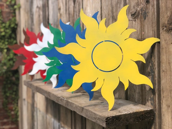 Rustic coloured SUN Lettering Letters Sign Metal home garden plaque decoration