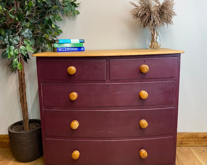 Antique Pine Chest Of Drawers / Painted Drawers / Rustic Chest Of Drawers