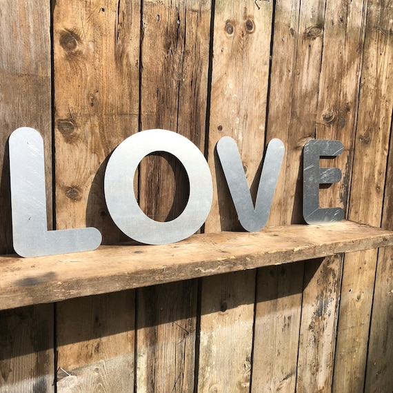 LOVE Lettering Letters GALVANIZED Metal Shop Home Garden Family Live Sign Rustic