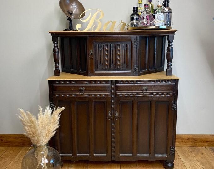Vintage Oak Dresser / Drinks Home Bar / Oak Sideboard / Court Cupboard