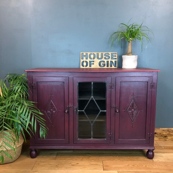 Vintage Painted Upcycled Shabby Chic Sideboard Cabinet Cupboard Boho Red Rustic