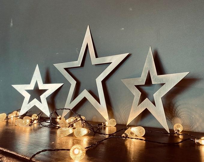 3 X  Steel Stars / Christmas Decorations / Vintage Style Decor / Metal Stars / Nordic decor / star decorations