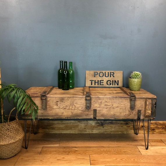 Vintage Trunk Chest Box Rustic Industrial Coffee Table Hallway Shoe Storage
