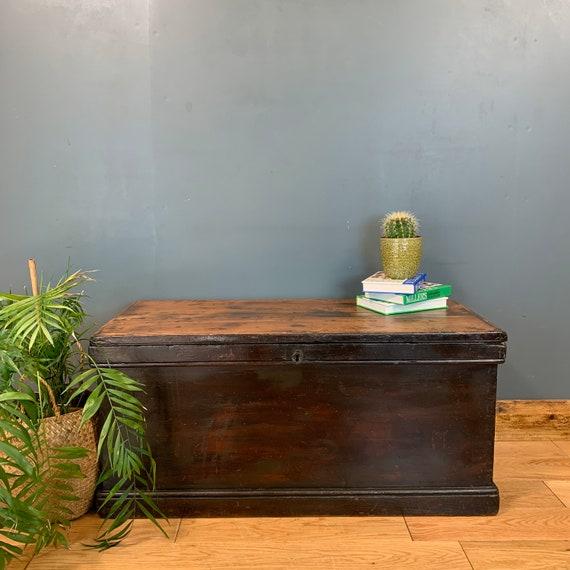 Antique Trunk Chest Box Coffee Table Handmade Edwardian Storage Blanket Box