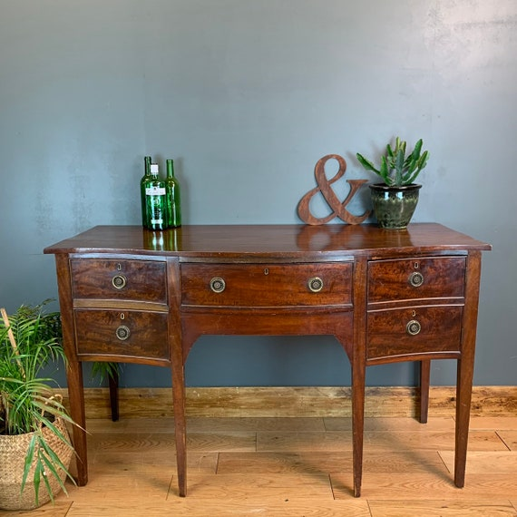 Antique Sideboard Serpentine Mahogany Cupboard Drawers Buffet Server