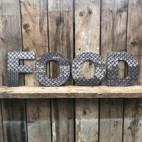FOOD INDUSTRIAL LETTERING Letters Metal Shop Home Sign Rustic Food Drinks Kitchen Bar