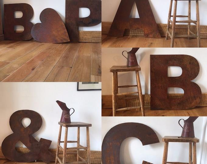 Big 70cm RUSTY METAL LETTERS , rustic decor , shop sign , wedding venue sign , cafe sign , bar sign , rustic metal decor , garden sign