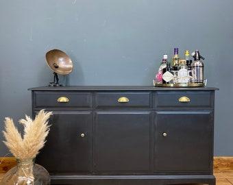 Retro Black Stag Sideboard / Black Vintage Sideboard / Retro Stag Cupboard / Bar