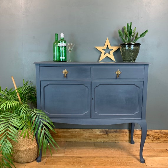 Vintage Cupboard Drawers Sideboard Painted Dark Blue Rustic Drinks Cabinet