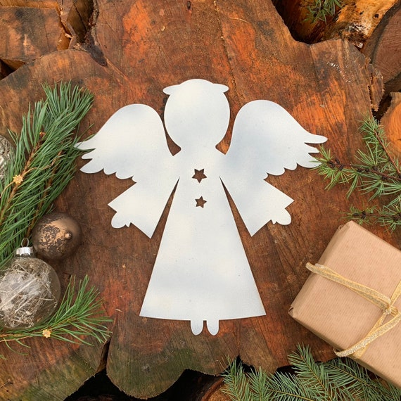 Distressed WHITE ANGEL Sign Metal Rustic Nordic Christmas decoration Ornament