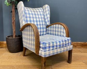 Art Deco Wingback Armchair / Antique Armchair Fireside Chair / Occasional Chair