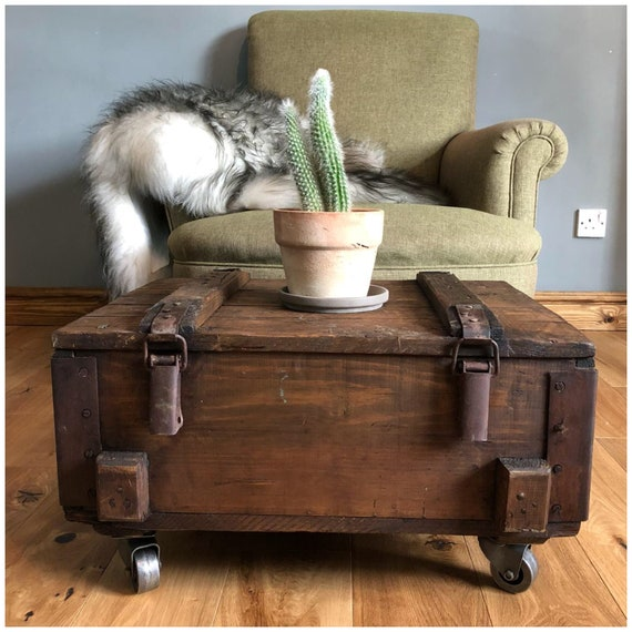 Rustic Coffee Table Storage Side Table Vintage Army Trunk On Wheels
