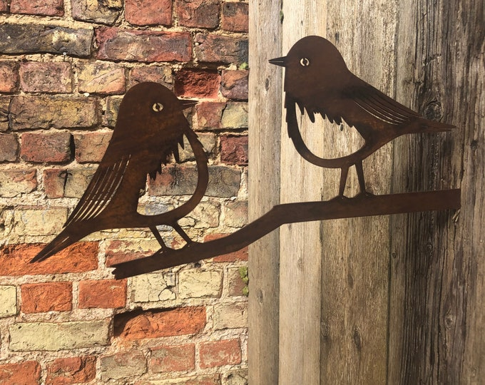 Rusty Metal robins on a branch Garden feature ,  garden sign , garden birds decoration , rustic garden decor , rusty garden animals,