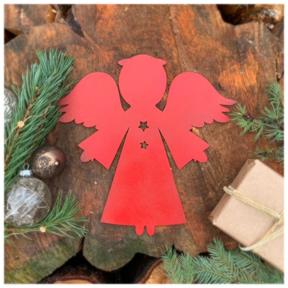 Distressed RED ANGEL Sign Metal Rustic Nordic Christmas decoration Ornament