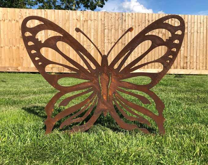 Large Rusty metal BUTTERFLY DECORATION ,  Home Sign , Garden Ornament , Wall feature , Animal decoration, rusted metal , butterfly sign ,