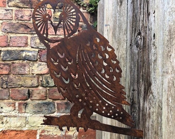 Rusty Metal , OWL DECORATION , Garden ornament , silhouette sign , garden decoration , garden feature , bird sign , owl sign , metal bird