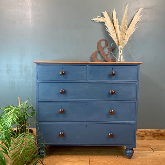 Vintage Chest Of Drawers Painted Blue Antique Bedroom Dresser Storage Mahogany
